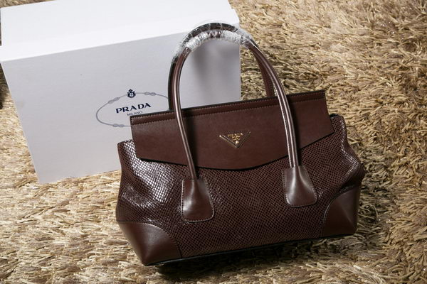 Prada Iridescent Snake Leather Tote Bag P1168 Brown