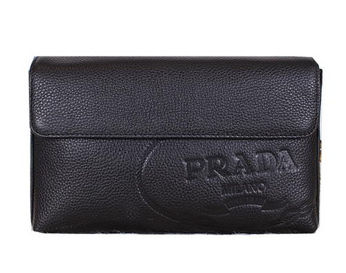 Prada Grainy Leather Clutch P2221 Black