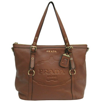 Prada Leather Tote Bag BR4253 Coffee