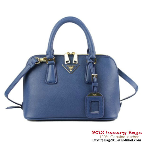 PRADA Saffiano Leather 26CM Two Handle Bag BL0811 Dark Blue