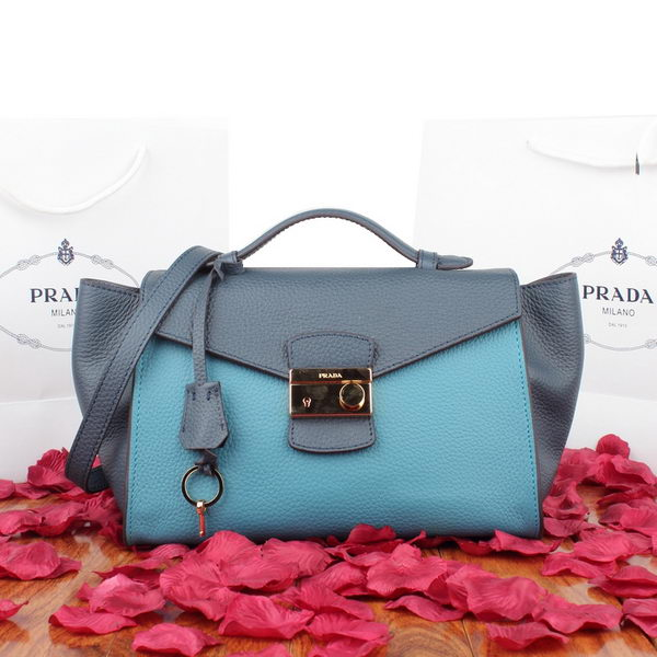 Prada Calf Leather Flap Bag BN8094 Blue&Gray