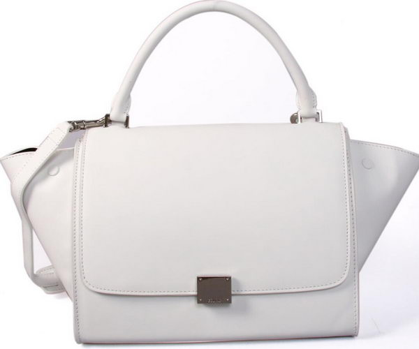 Celine Smooth Leather Trapeze Bag CL88037 White