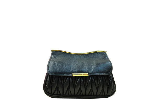 miu miu Matelasse Shiny Leather Shoulder Flap Bag RN1898 Black