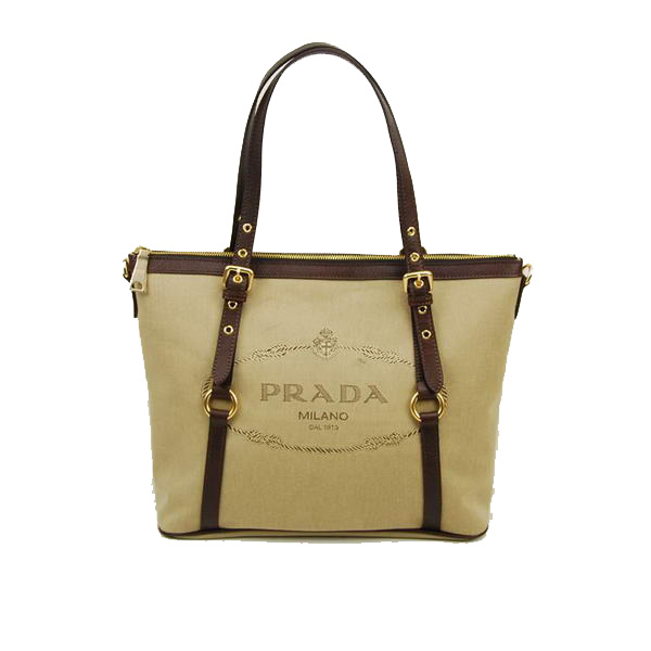 Prada Leather Apricot Canvas Tote Bag BR4253 Brown