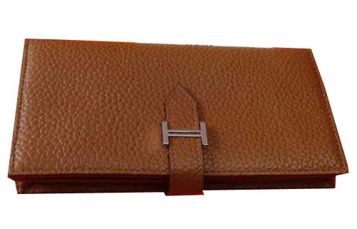 Hermes Bearn Japonaise Grainy Leather Wallet H8622W Wheat