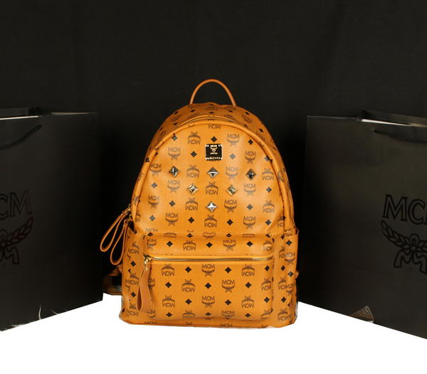 MCM Stark Backpack Jumbo in Calf Leather 8006 Camel