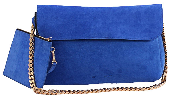 Celine Gourmette Small Bag in Suede Leather Royalblue