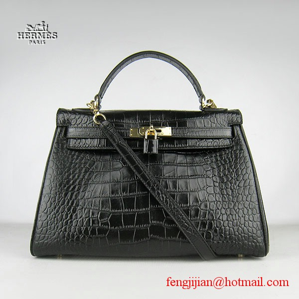 Hermes Kelly 32cm Crocodile Veins Leather Bag Black 6108 Gold Hardware