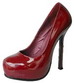YSL varnish leather round toe pumps red