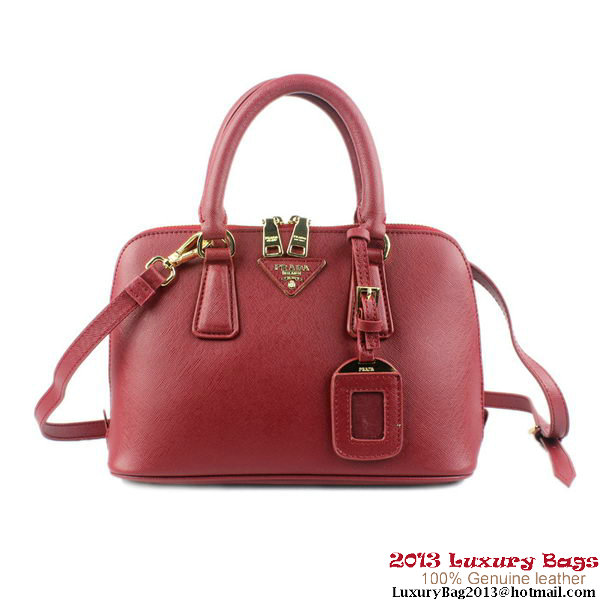 PRADA Saffiano Leather 26CM Two Handle Bag BL0811 Burgundy