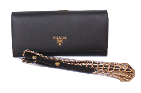 Prada Saffiano Metallic Flap Wallet 1M1290 Black