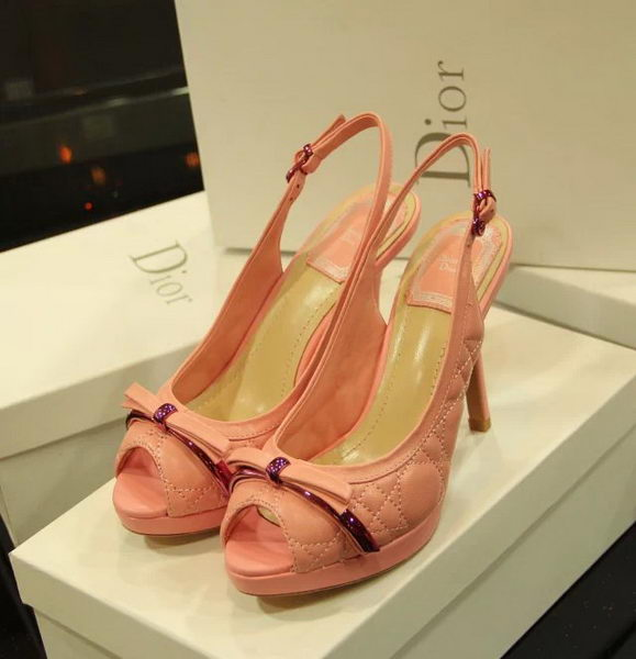 Dior Sheepskin Leather Peep-toe Pump D0252 Pink