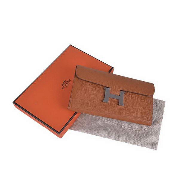 Hermes Constance Long Wallets Camel Calfskin Leather Silver