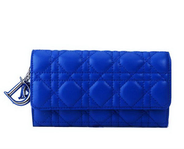 Dior Bi-Flod Wallet in Lambskin Leahter CD086 Blue