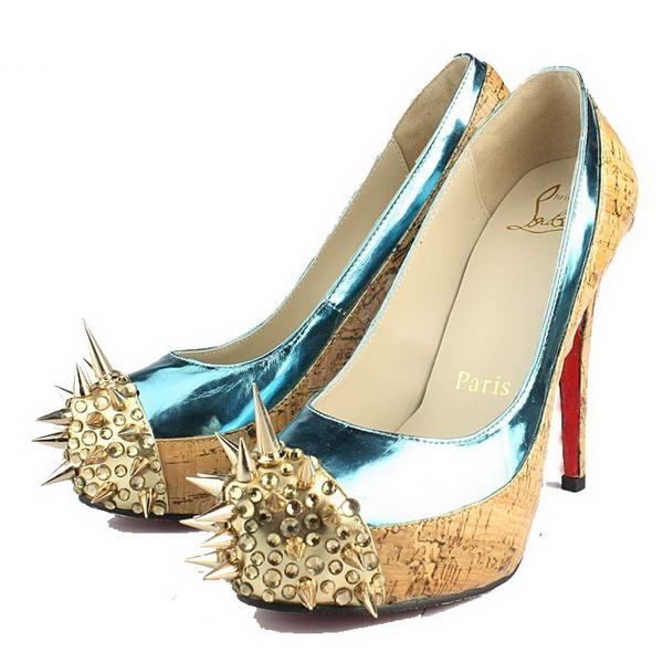 Christian Louboutin David Delfin 130mm Azury Patent Leather Gold Spikes Toe Pumps