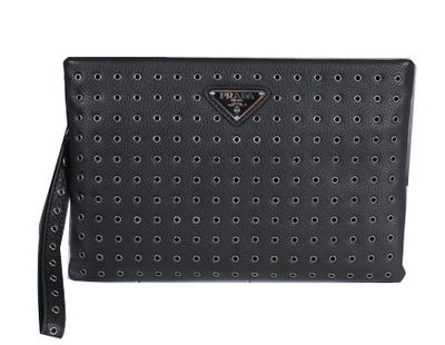 PRADA Calfskin Leather Clutch P1008 Black
