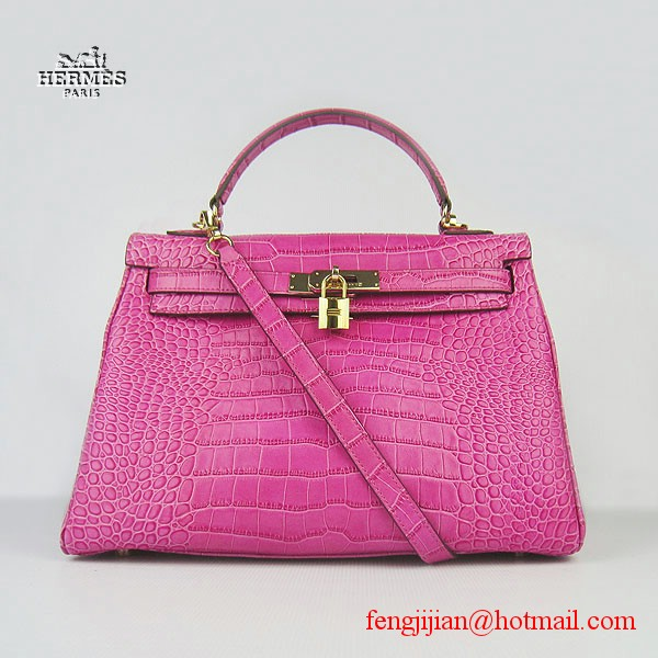 Hermes Kelly 32cm Crocodile Veins Leather Bag Peachblow 6108 Gold Hardware
