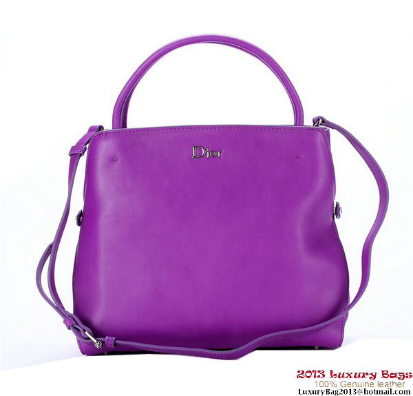 Dior Fall Winter 2012 Smooth Calfskin Top Handle Bag Purple