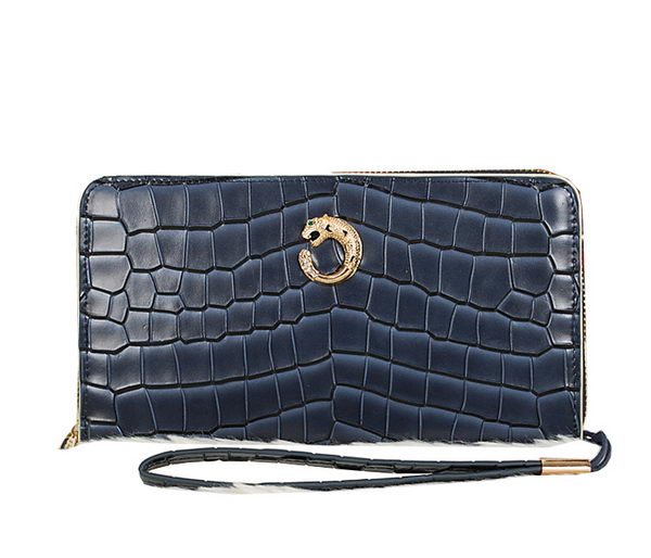 Cartier Croco Leather Clutch 8512-2 RoyalBlue