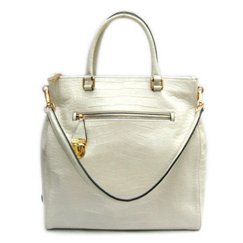 Prada BR4299 Croco Veins Leather Pocket Front Large Tote Bag Cream