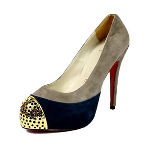 Christian Louboutin Red Sole Shoes Maggie-Beige Black and Grey