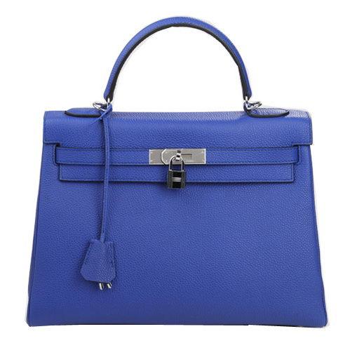 Hermes Kelly 32cm Shoulder Bag Blue Original Leather K32 Silver