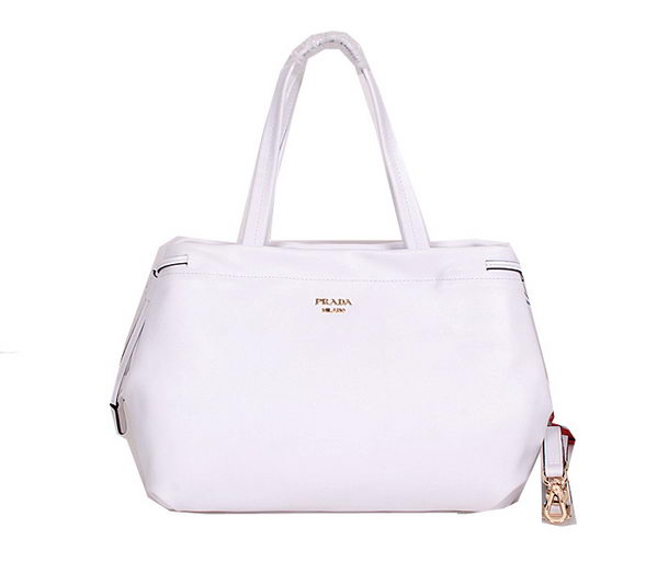 Prada Soft Calf Leather Tote Bag BR5104 White