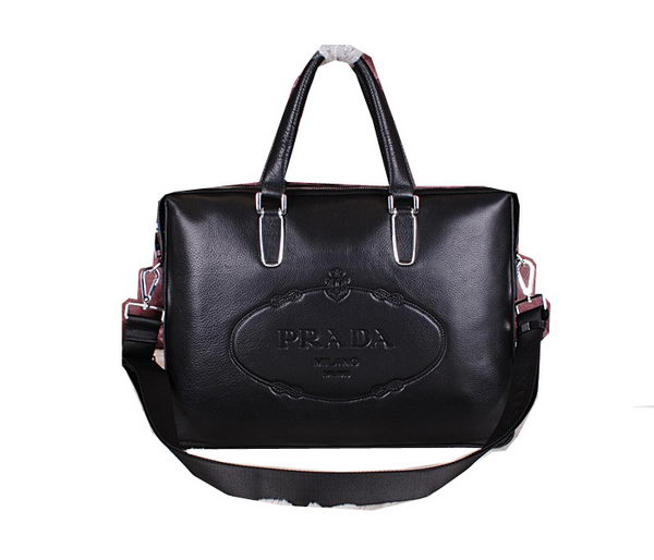 Prada Calfskin Leather Briefcase P2775 Black