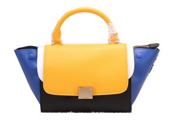 Celine Nano Trapeze Bag Original Leather C88038 Yellow&Blue&Black