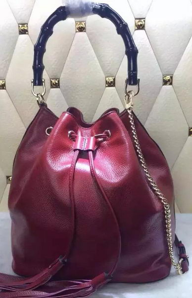 Gucci Miss Bamboo Leather Bucket Bag 387613 Red