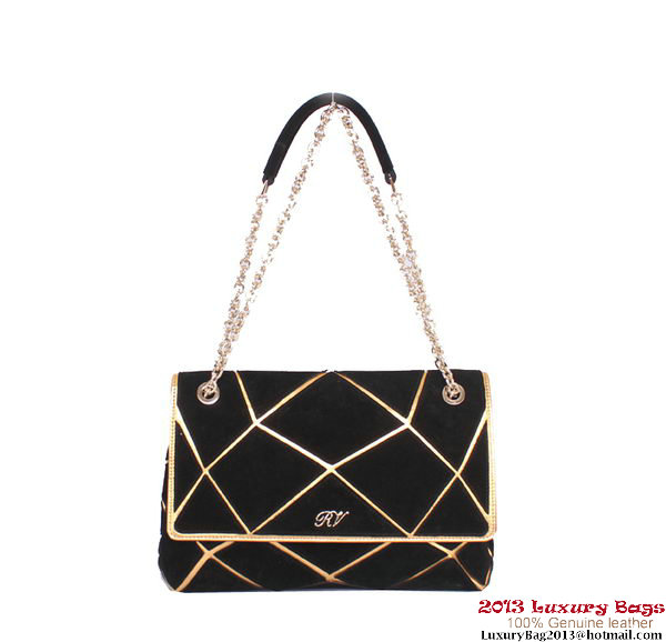 ROGER VIVIER Prismick Medium Gradient Suede Bag RV3608 Black&Gold
