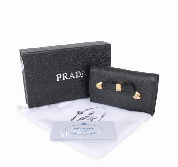 Prada 1M0223 Black Saffiano Leather Bow Key Holder