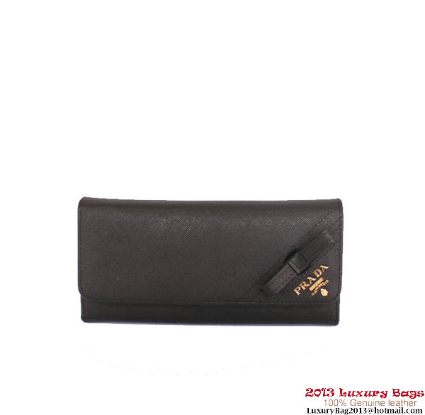 Prada Saffiano Calf Leather Bow Wallet 1M1132S Black