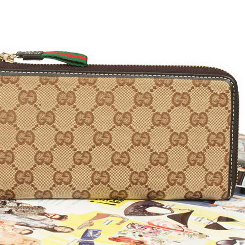 Gucci GG Fabric Continental Zip Around Wallet 203646 Brown
