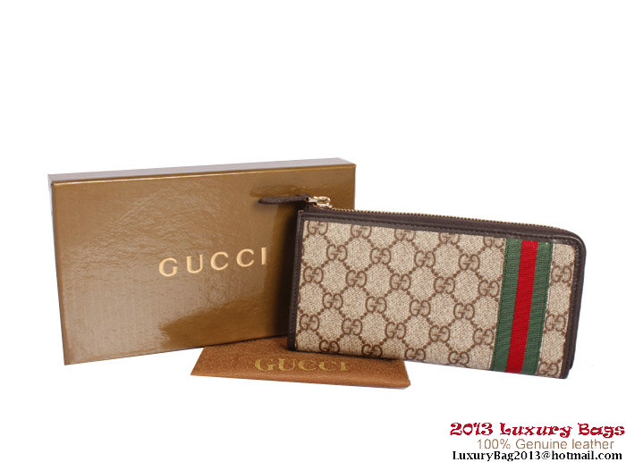 Gucci Web Continental Wallet 295763 Brown