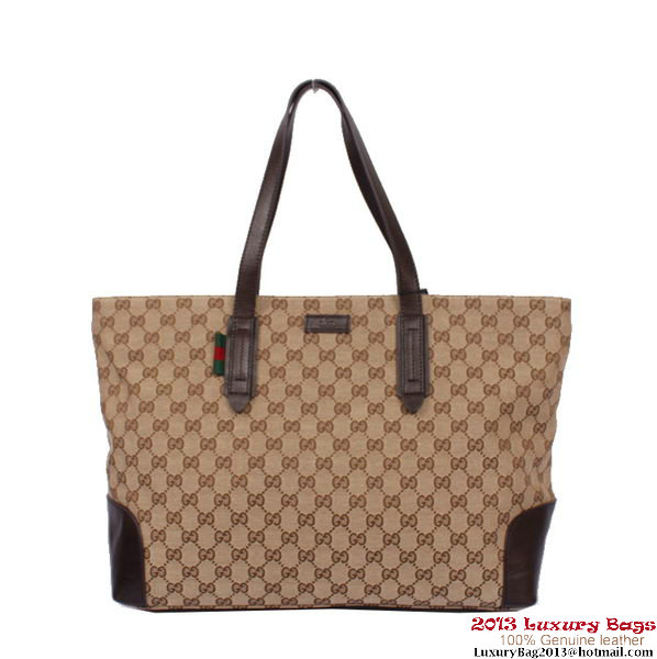 Gucci Large Original GG Canvas Tote Bag 308928 Brown