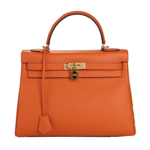 Hermes Kelly 32cm Shoulder Bag Orange Original Leather K32 Gold