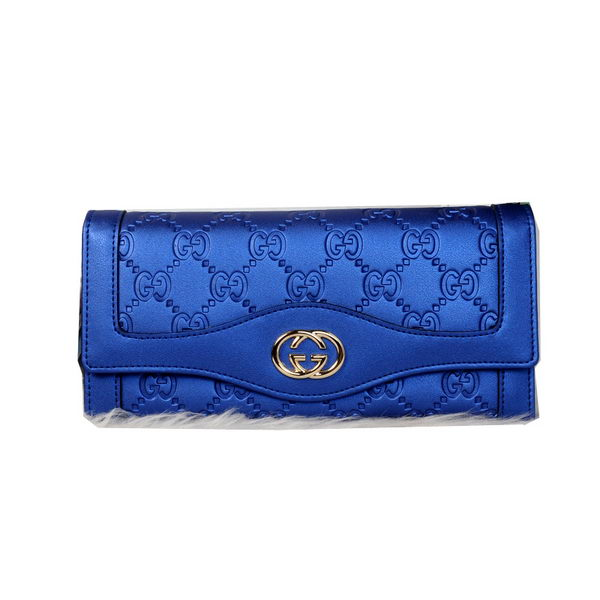 Gucci Double G Continental Iridescent Leather Wallet 9526 RoyalBlue