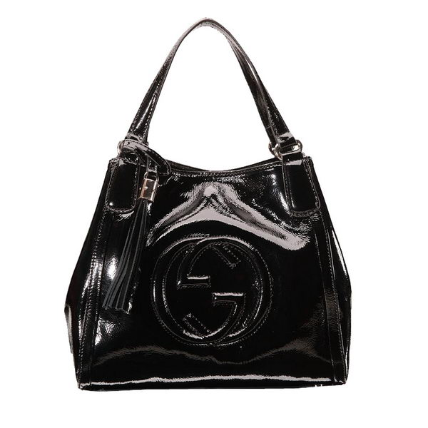Gucci Soho Shoulder Bag Patent Leather 336751 Black
