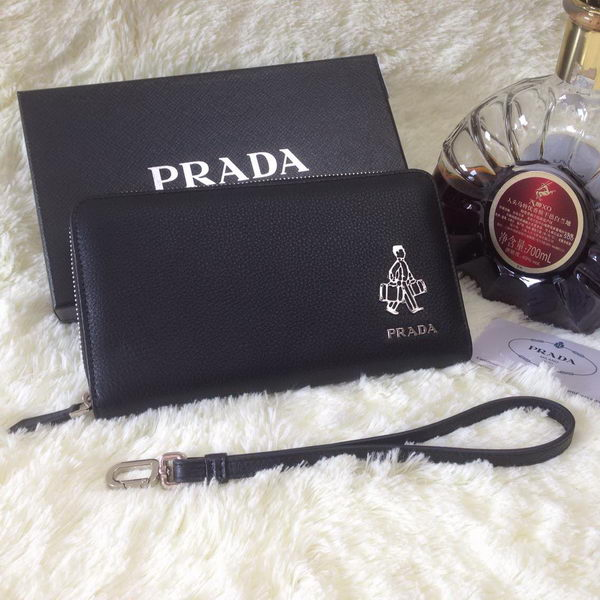 Prada Grainy Leather Zippy Dahmen Wallets Black