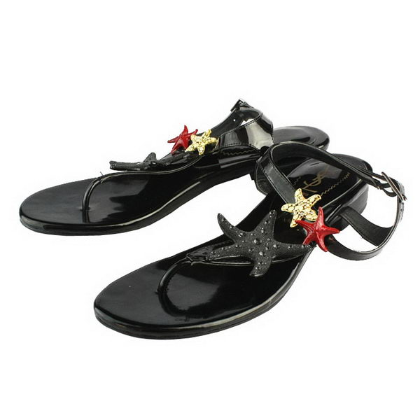 Yves Saint Laurent Patent Leather Starfish Thong Sandals Black
