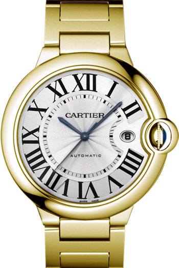 Cartier Ballon Bleu Large Series Fashionable 18k Yellow Gold Mens Swiss Quartz Wristwatch-W69005Z2