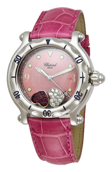 Chopard Happy Sport Series Ruby Heart Steel Pink Leather Ladies Diamond Watch 288950
