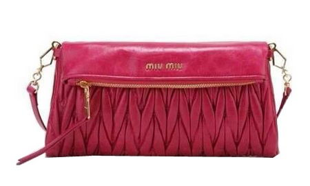 miu miu Pressed Matelasse Nappa leather Shoulder Bag RT0363 Rosy