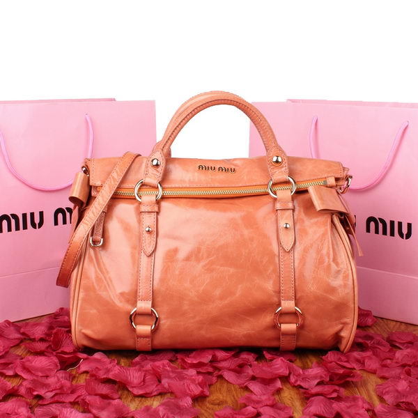miu miu Top Handle Bag 88010 Rose Iridescent Leather