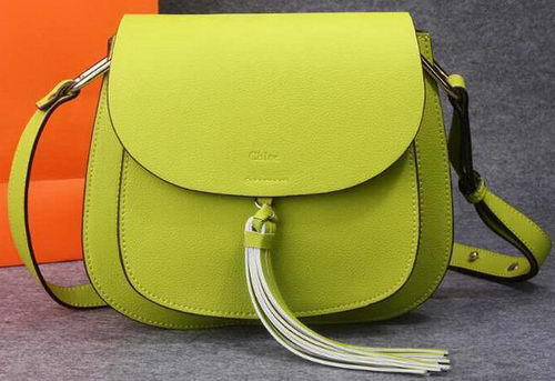 CHLOE Calfskin Leather Shoulder Bag 33229 Yellow