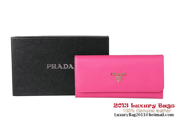 Prada Saffiano Calf Leather Wallet 1M1132B Peach