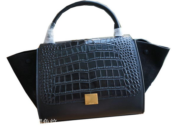 Celine Trapeze Tote Bag Croco Leather CL6608 Black