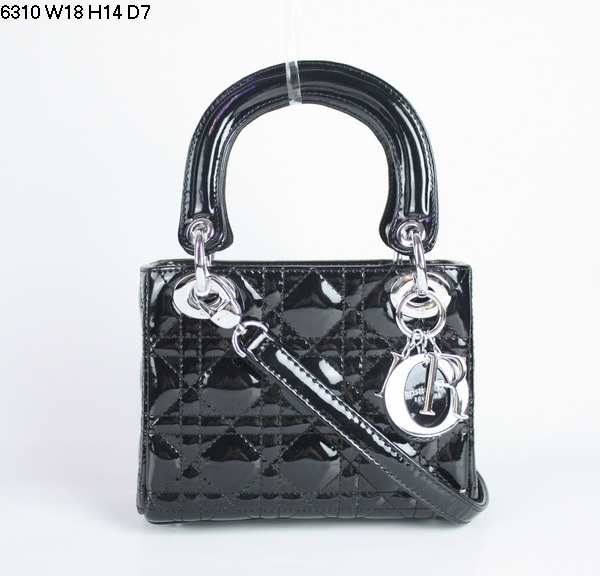 Christian Lady Dior Black Patent Leather Bag 6310 Silver