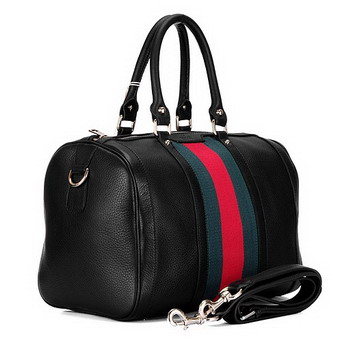 Gucci 247205 Medium Boston Bag Vintage Web Leather Black